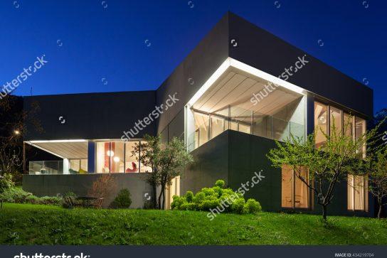 stock-photo-architecture-modern-design-concrete-house-night-scene-434219704
